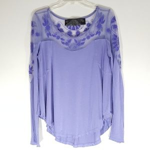 Free People New Romantics Purple Embroidery Tunic